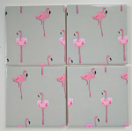 4 Ceramic Coasters in Sophie Allport Mini Flamingo
